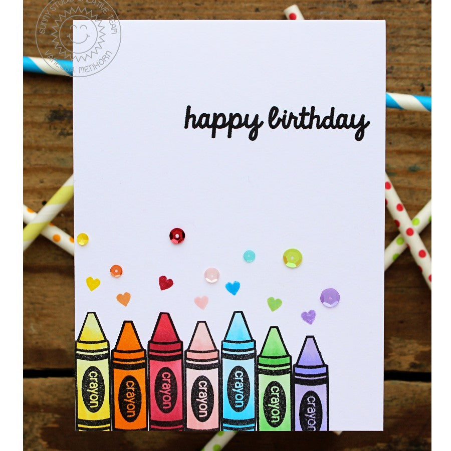 Sunny Studio Stamps Happy Birthday Rainbow Crayons Clean & Simple Handmade Card (using School Time 4x6 Clear Photopolymer Stamp Set)