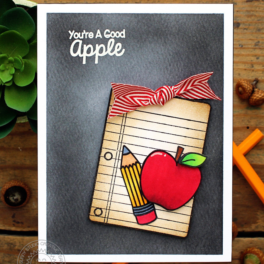 Sunny Studio Stamps You're A Good Apple Apple, Pencil & Notebook Paper Handmade Card with Chalkboard Background (using School Time 4x6 Clear Photopolymer Stamp Set)