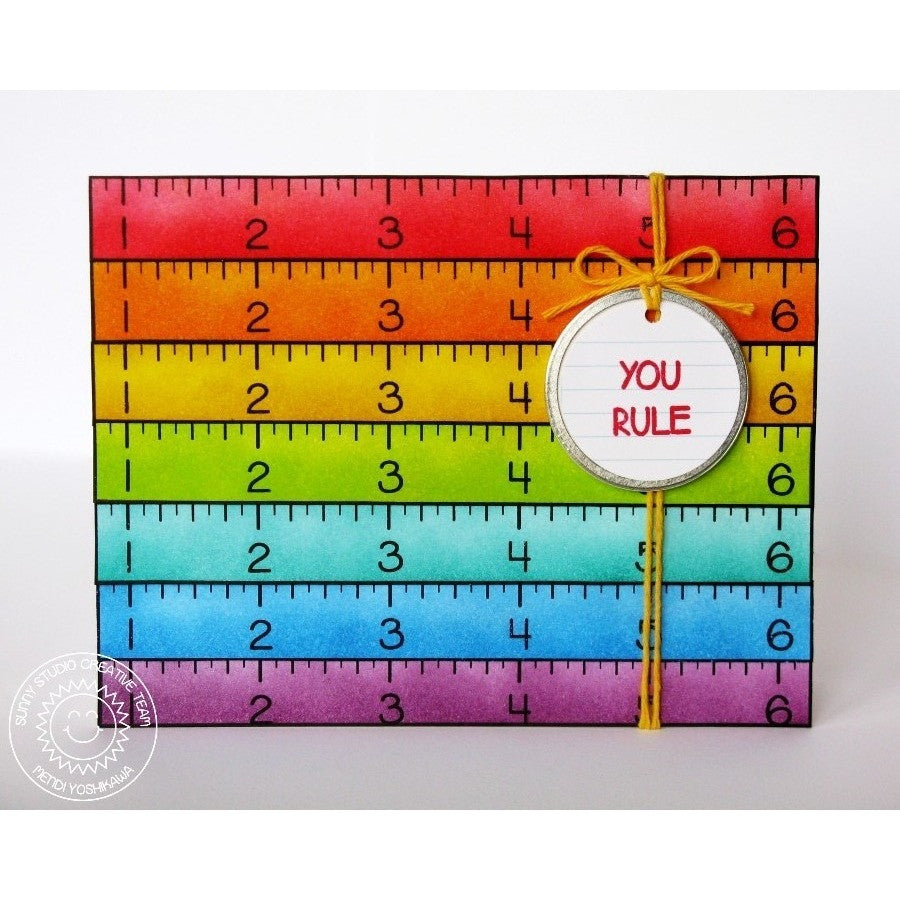 Sunny Studio Stamps School Time Rainbow Ruler You Rule Card