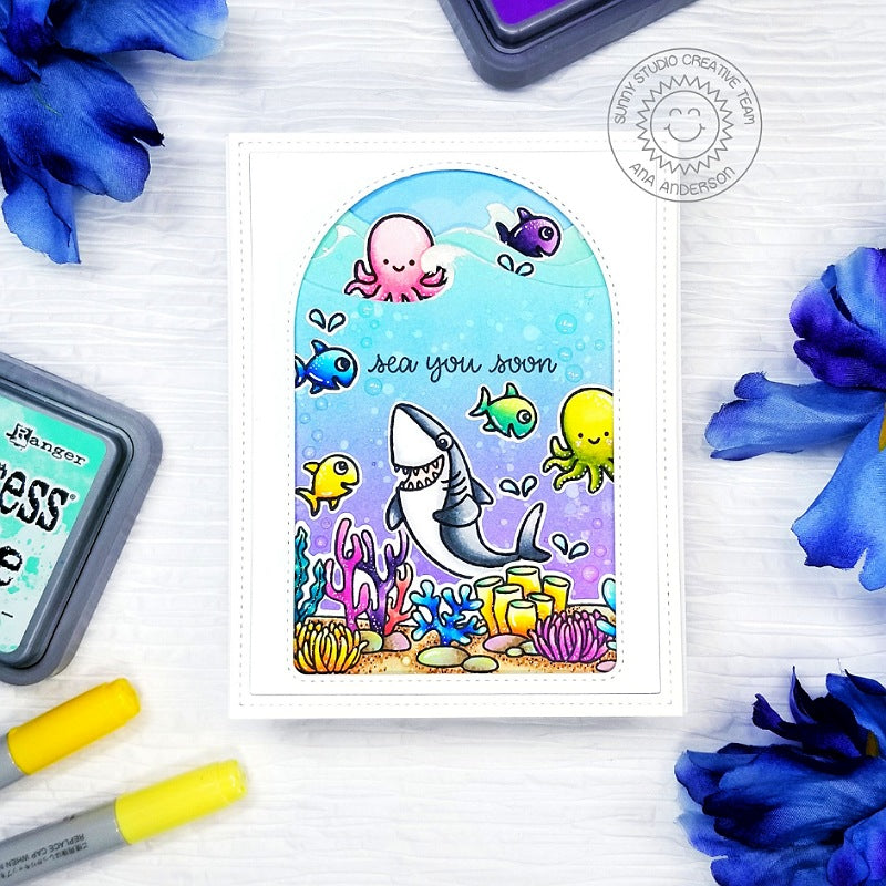 Sunny Studio Stamps Shark with Octopus & Fish Ocean Themed Punny Handmade Card (using Sea You Soon 2x3 Clear Photopolymer Stamp Set)
