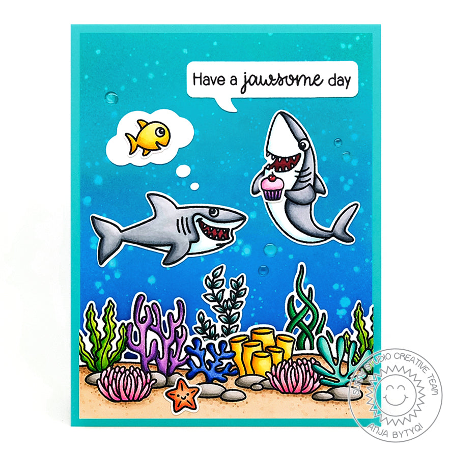 Sunny Studio Stamps Shark with Cupcake, but dreaming about eating fish using thought bubble Punny Ocean Themed Handmade Card with Coral Border (using Sea You Soon Mini 2x3 Clear Photopolymer Stamp Set)