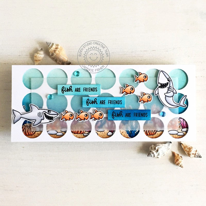 Sunny Studio Shark and Fish Ocean Themed Slimline Handmade DIY Greeting Card (using Sea You Soon 2x3 Clear Photopolymer Stamp Set)