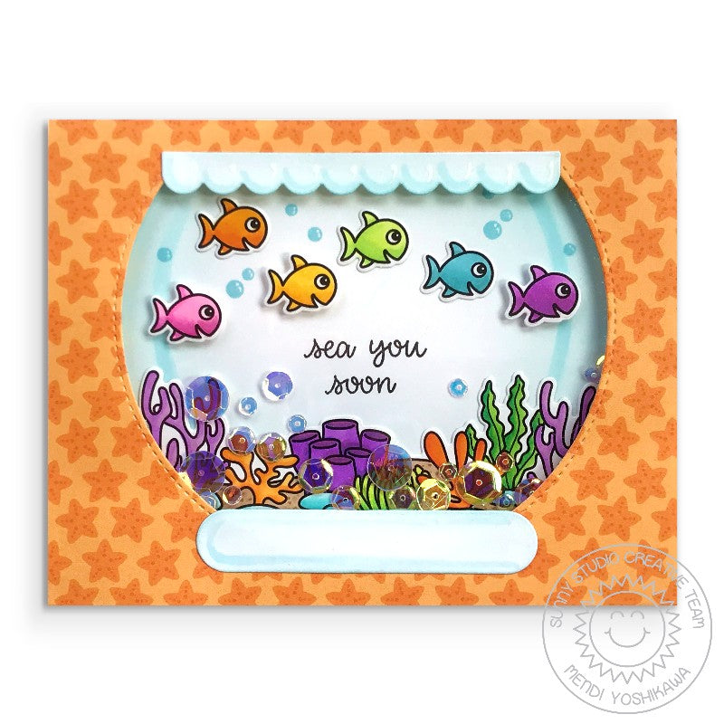 Sunny Studio Stamps: Rainbow Fish in Fishbowl Sequin Shaker Card (using Sea You Soon 2x3 Mini Photopolymer Clear Stamp Set)
