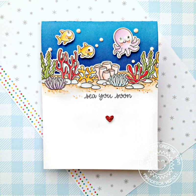 Sunny Studio Stamps Octopus and Fish Ocean Themed Punny Handmade Card (using Sea You Soon 2x3 Clear Photopolymer Stamp Set)