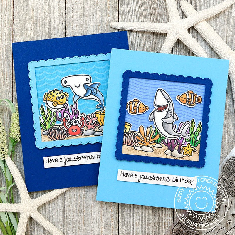 Sunny Studio Stamps Shark, Fish & Octopus Ocean Themed Birthday Puns Handmade Card with Coral Border (using Sea You Soon Mini 2x3 Clear Photopolymer Stamp Set)
