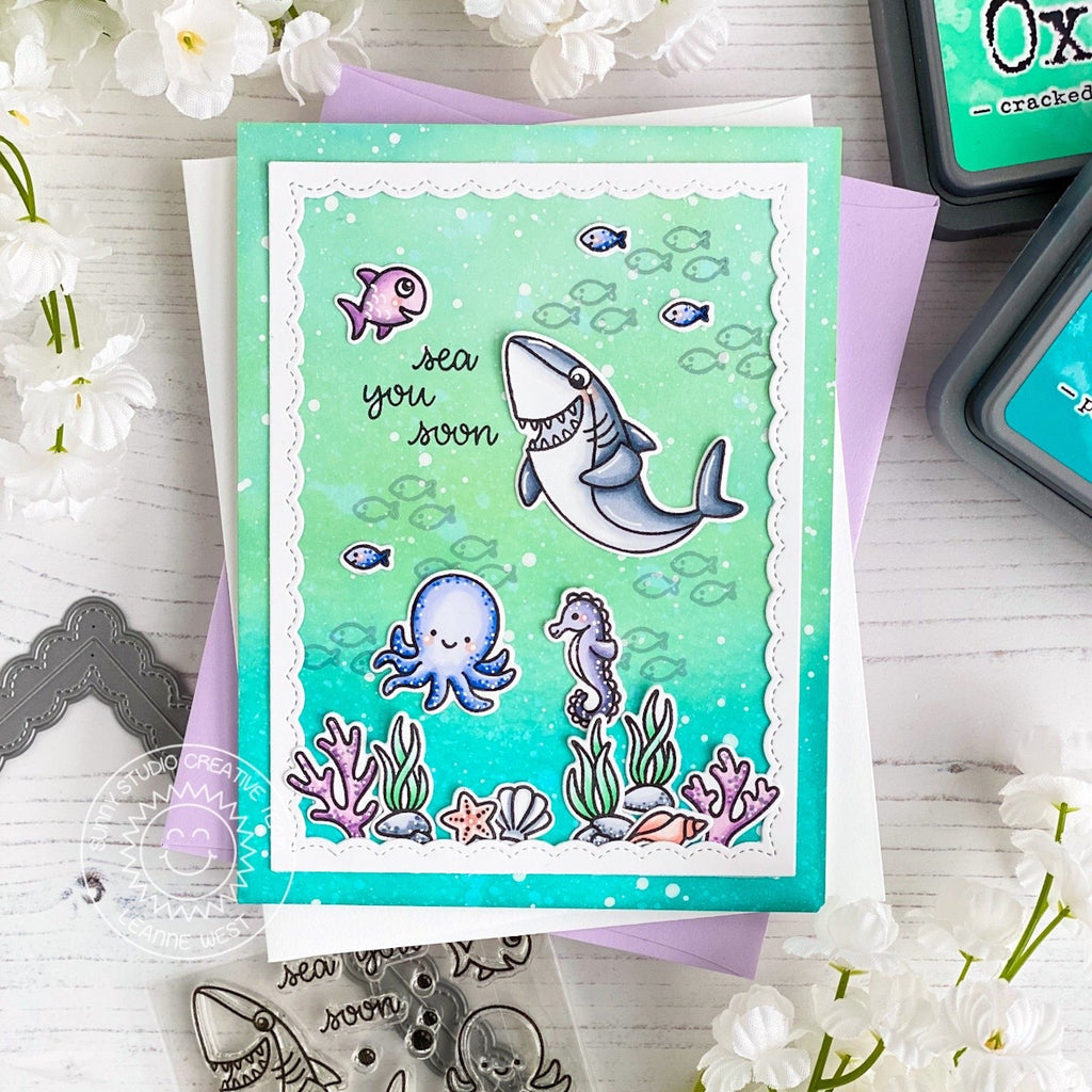 Sunny Studio Stamps Shark, Octopus & Seahorse Aqua Ocean Themed Handmade Card (using Sea You Soon 2x3 Clear Photopolymer Stamp Set)