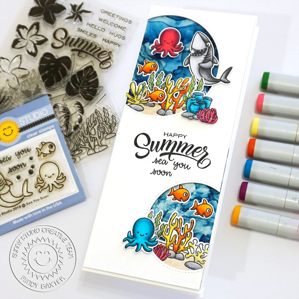Sunny Studio Stamps Shark, Octopus & Fish Porthole Ocean Themed Handmade Slimline Card (using Stitched Semi-Circle Metal Cutting Dies)