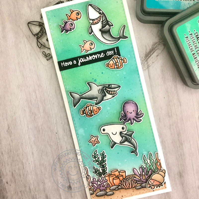 Sunny Studio Stamps Have a Jawsome Day Punny Sharks in Ocean Themed Handmade Slimline Card (using Tropical Scenes 4x6 Clear Photopolymer Stamp Set)