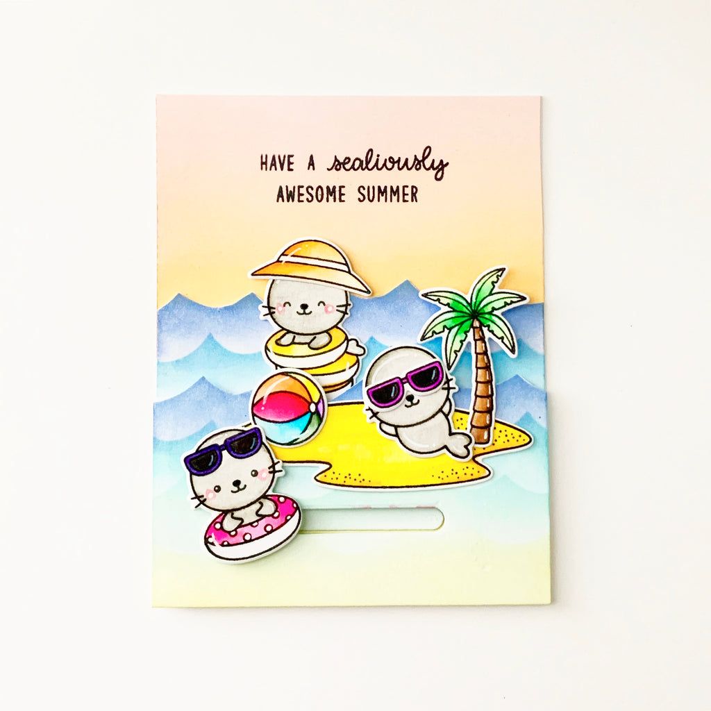 Sunny Studio Stamps Seals Sunbathing on Island with Palm Trees and Ocean Waves Summer Themed Handmade Card (using Tropical Scenes 4x6 Clear Photopolymer Stamp Set)