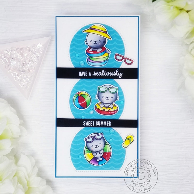 Sunny Studio Stamps Have A Sealiously Sweet Summer Seals at the beach, playing in the ocean waves Handmade Slimline Card with Curved Windows (using Sealiously Sweet 4x6 Clear Photopolymer Stamp Set)