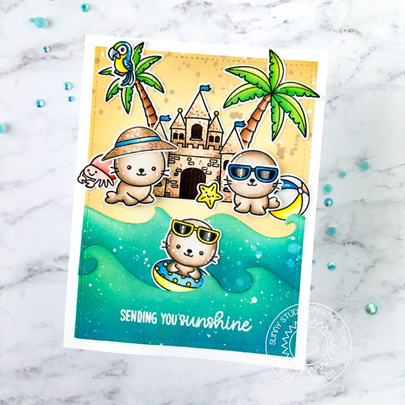 Sunny Studio Seals Building Sand Castles and Playing in the Waves At the Beach Summer Ocean Themed Handmade DIY Greeting Card (using Catch A Wave Border Metal Cutting Die)