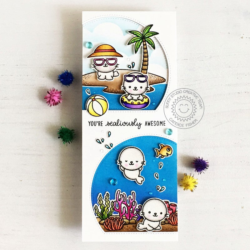 Sunny Studio Stamps You're Sealiously Awesome Punny Summer Seals at the Beach Handmade Slimline Card with Curved Window (using Stitched Semi-Circle Metal Cutting Dies)