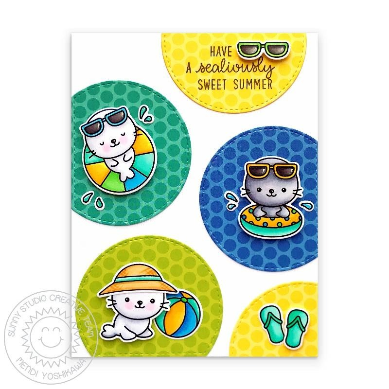 Sunny Studio Stamps Have A Sealiously Sweet Summer Seal Polka-dot Handmade Card (using Stitched Semi Circle Metal Cutting Dies)