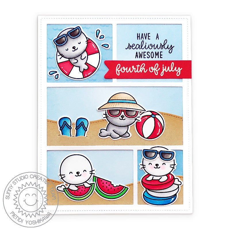 Sunny Studio Stamps Fourth of July Red, White & Blue Beach Themed Comic Strip Style Handmade Summer Seal Card (using Sealiously Sweet 4x6 Clear Photopolymer Stamp Set)