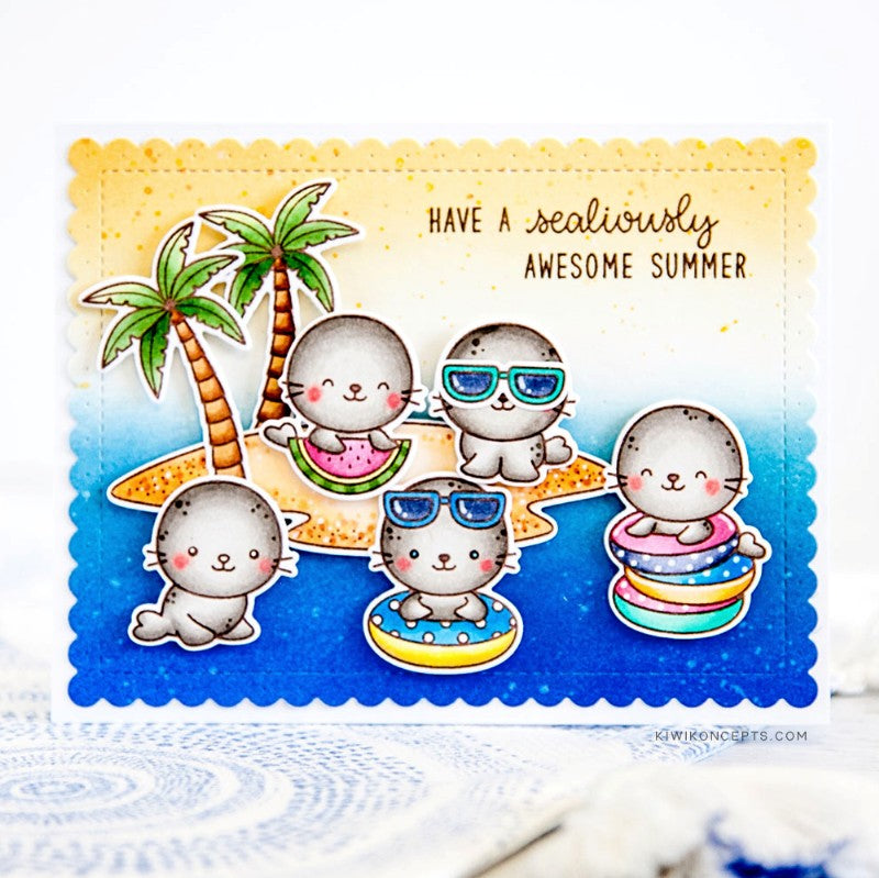 Sunny Studio Have A Sealioulsy Awesome Summer Punny Seals Playing on Beach with Palm Trees Pun Themed Handmade DIY Greeting Card (using Sealiously Sweet 4x6 Clear Photopolymer Stamp Set)