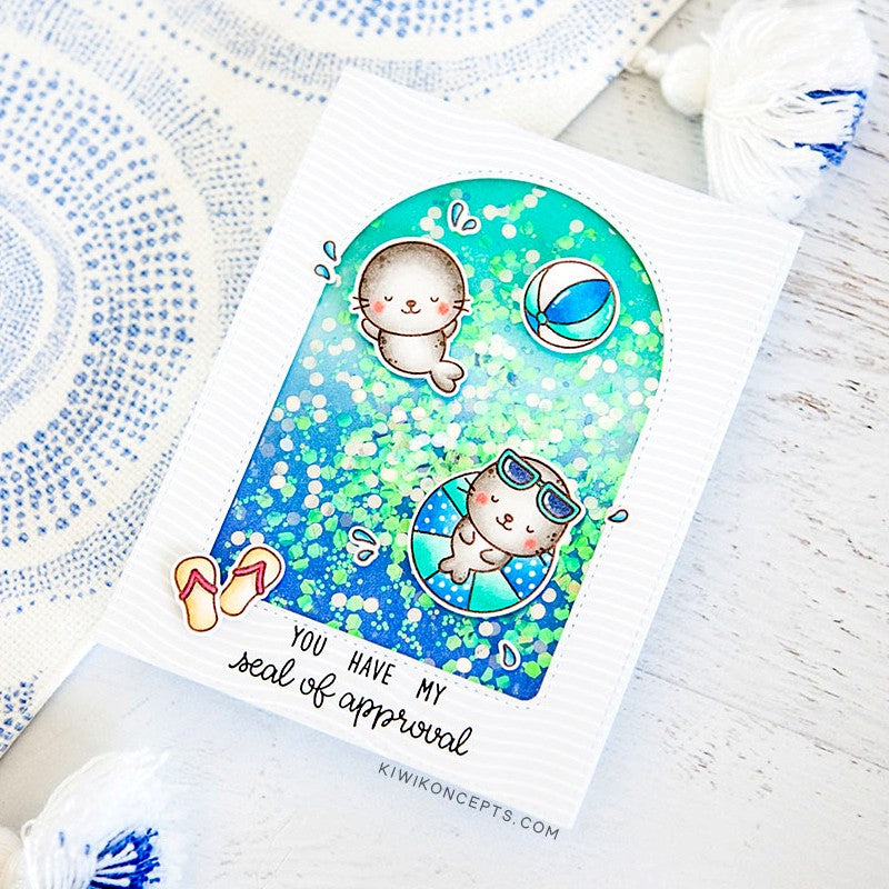Sunny Studio You Have My Seal of Approval Seals Swimming in the Water Aquarium Themed Handmade DIY Shaker Greeting Card (using Sealiously Sweet 4x6 Clear Photopolymer Stamp Set)