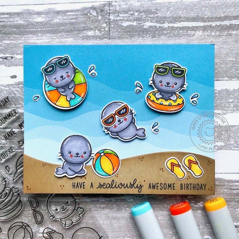 Sunny Studio Stamps Summer Seals Playing in the Ocean Waves Punny Handmade Card (using Sealiously Sweet 4x6 Clear Photopolymer Stamp Set)