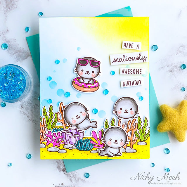 Sunny Studio Stamps Have An Awesome Birthday Seals playing in the ocean Handmade Summer Birthday Card (using Sealiously Sweet 4x6 Clear Photopolymer Stamp Set)