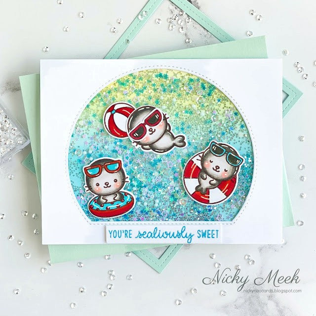 Sunny Studio Stamps You're Sealiously Sweet Punny Seal Puns Summer Pool Themed Handmade Shaker Card (using Stitched Semi-Circle Metal Cutting Dies)