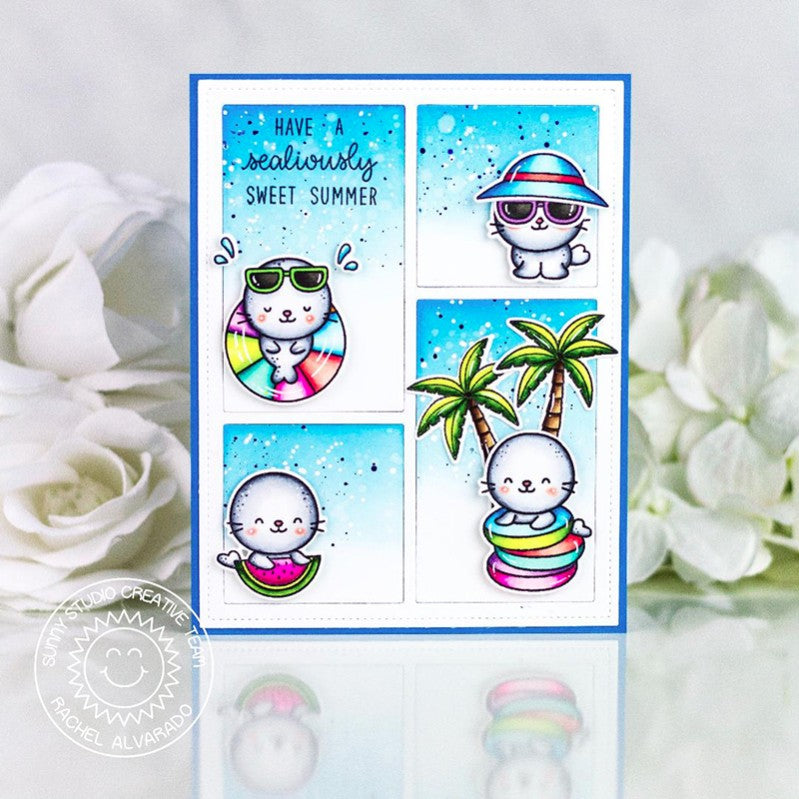 Sunny Studio Stamps Have A Sealiously Sweet Summer Punny Seals Handmade Grid Style Comic Strip Card (using Sealiously Sweet 4x6 Clear Photopolymer Stamp Set)