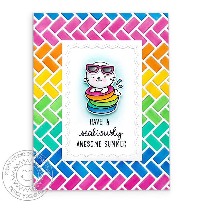 Sunny Studio Stamps Sealiously Sweet Rainbow Seal Handmade Summer Card (using Frilly Frames Herringbone A2 Background Backdrop Metal Cutting Dies)