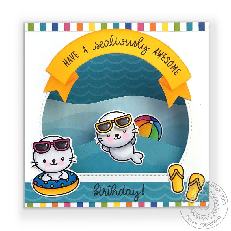 Sunny Studio Stamps Have A Sealiously Awesome Birthday Punny Seal Puns Summer Ocean Waves Shadow Box Pop-up Interactive Card (using Stitched Semi-Circle Nesting Metal Cutting Dies to create window)