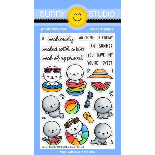 Sunny Studio Stamps Sealiously Sweet Summer Seals Punny Puns 4x6 Clear Photopolymer Stamp Set with Beach Ball, Watermelon, Flip Flops, Sunglasses & Sun Hat