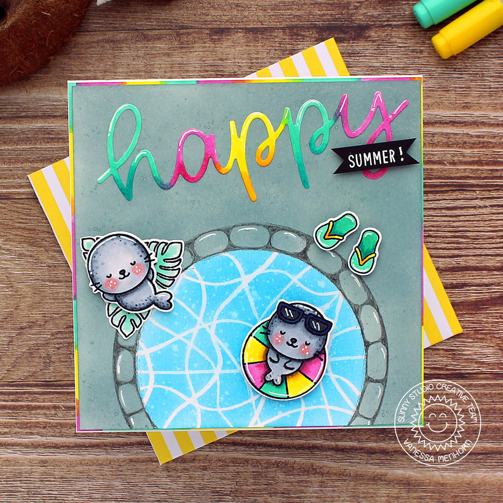 Sunny Studio Happy Summer Seals lounging by the pool with spinning Seal interactive Handmade DIY Greeting Card (using Sealiously Sweet 4x6 Clear Photopolymer Stamp Set)