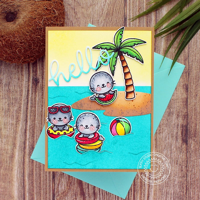 Sunny Studio Hello Seals Playing in the waves Summer Island Themed Handmade DIY Greeting Card (using Sealiously Sweet 4x6 Clear Photopolymer Stamp Set)