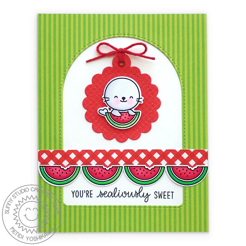 Sunny Studio Stamps You're Sealiously Sweet Seal with Watermelon Red, White and Green Handmade Card (using Stitched Scalloped Tag Circle Metal Cutting Dies)
