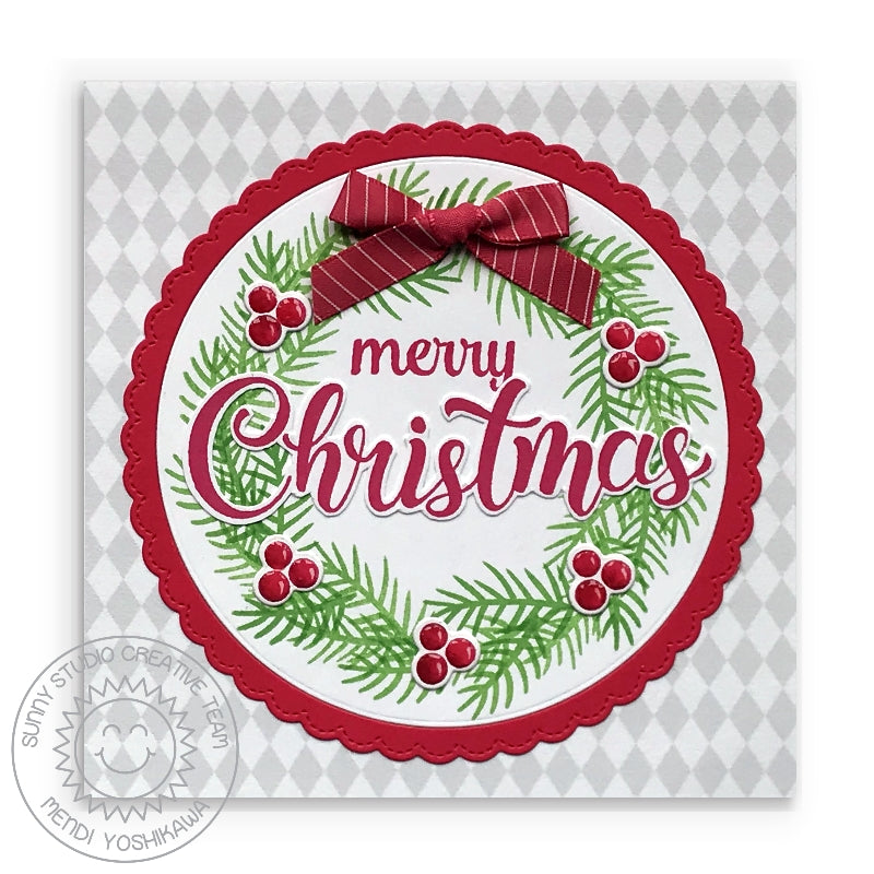 Sunny Studio Stamps Holiday Wreath with Bow and Berries Handmade Christmas Card (using diamond print from Subtle Grey Tones 6x6 Patterned Paper Pack)