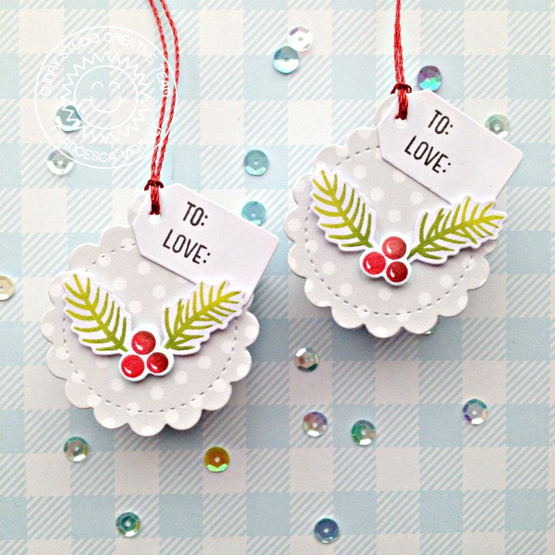 Sunny Studio Stamps Sprigs & Berries Handmade Holiday Christmas Gift Tags by Franci (using Stitched Scalloped Circle Craft Cutting die)