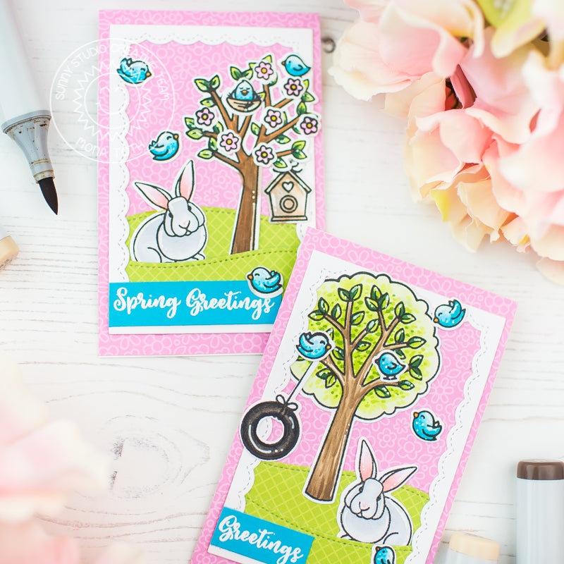 Sunny Studio Spring Greetings Bunnies and Birds with Flower Trees Card (using Seasonal Trees Stamps)