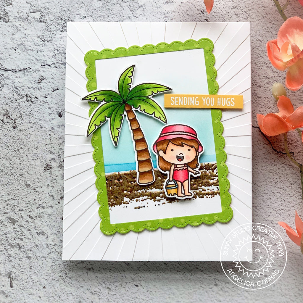 Sunny Studio Stamps Girl with Sand Bucket Beach Themed Card (using Palm Tree from Seasonal Trees Stamps)