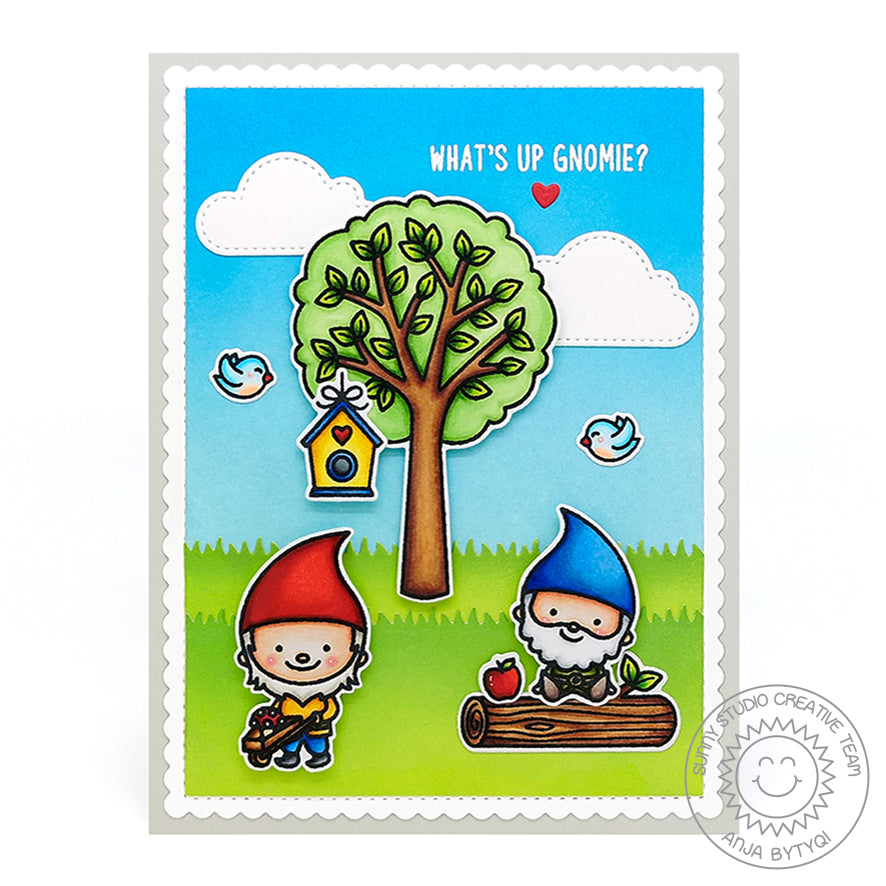 "Sunny Studio Stamps ""What's Up Gnomie?"" Punny Gnome Card using Seasonal Trees & Home Sweet Gnome Stamps"