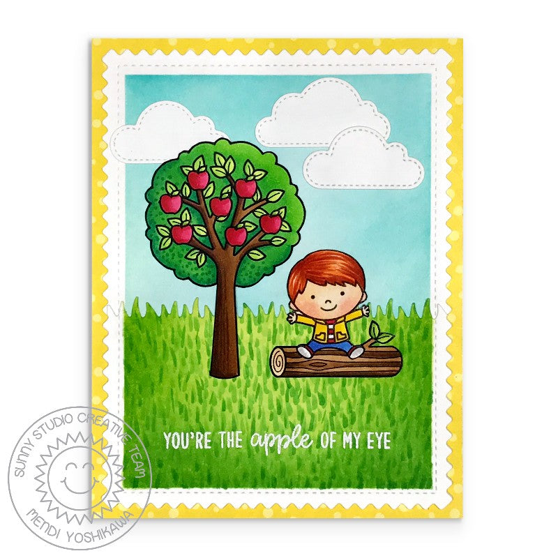 Sunny Studio Stamps Apple Of My Eye Boy with Tree Card (using Fluffy Clouds Stitched Dies)