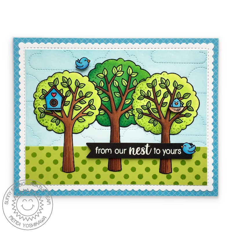 Sunny Studio Stamps Birdhouse with Trees Card (using Fluffy Clouds Die to create stitched background)