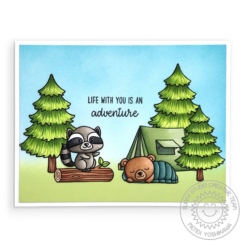 "Sunny Studio Stamps Critter Camping ""Life Is An Adventure"" Card (using Fir Trees from Seasonal Trees Stamp set)"