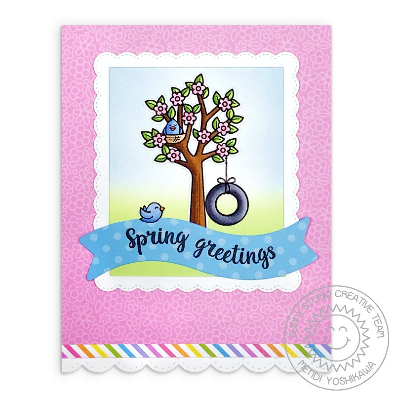 Sunny Studio Stamps Seasonal Trees Spring Greetings Cherry Blossoms Card