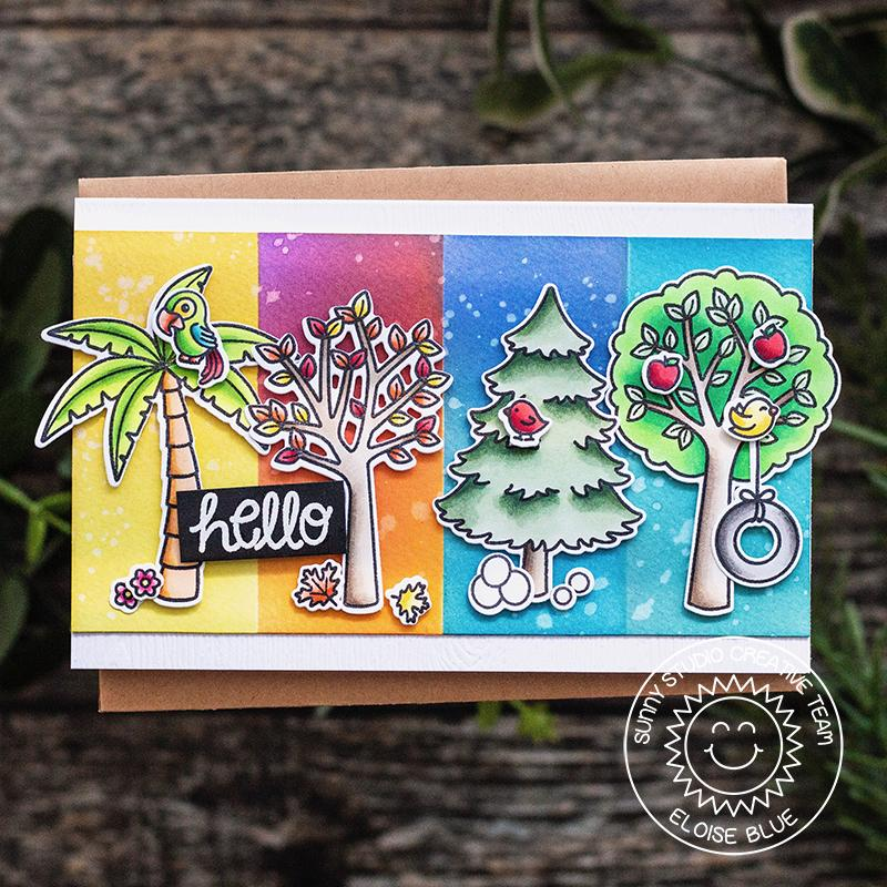 Sunny Studio Stamps Seasonal Trees Hello Through The Seasons Card