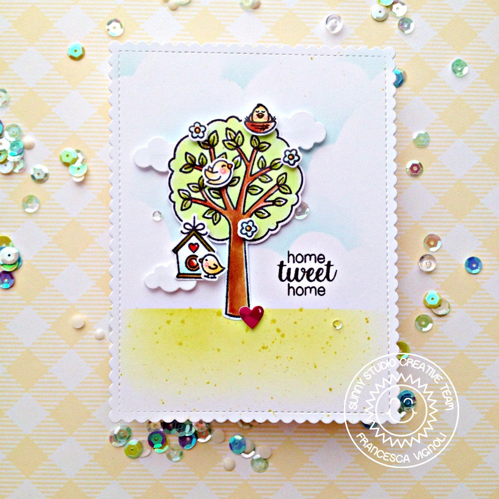 Sunny Studio Stamps Seasonal Trees Home Tweet Home Birds & Birdhouse with Summer Tree Card