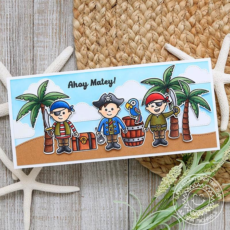 Sunny Studio Stamps Pirate Pals Ahoy Matey Elongated Summer Beach Themed Card by Juliana Michaels