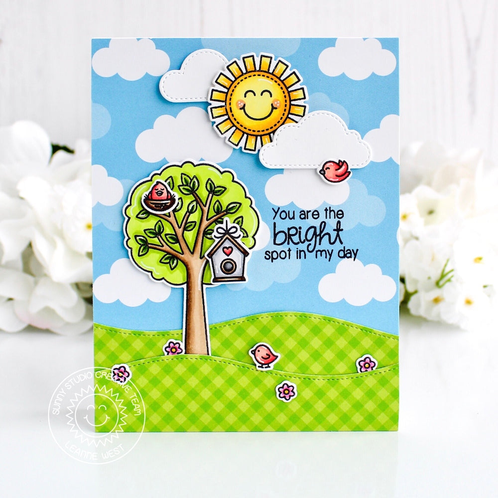 Sunny Studio Stamps Seasonal Trees Sunny Sentiments Card with Clouds and Sunshine