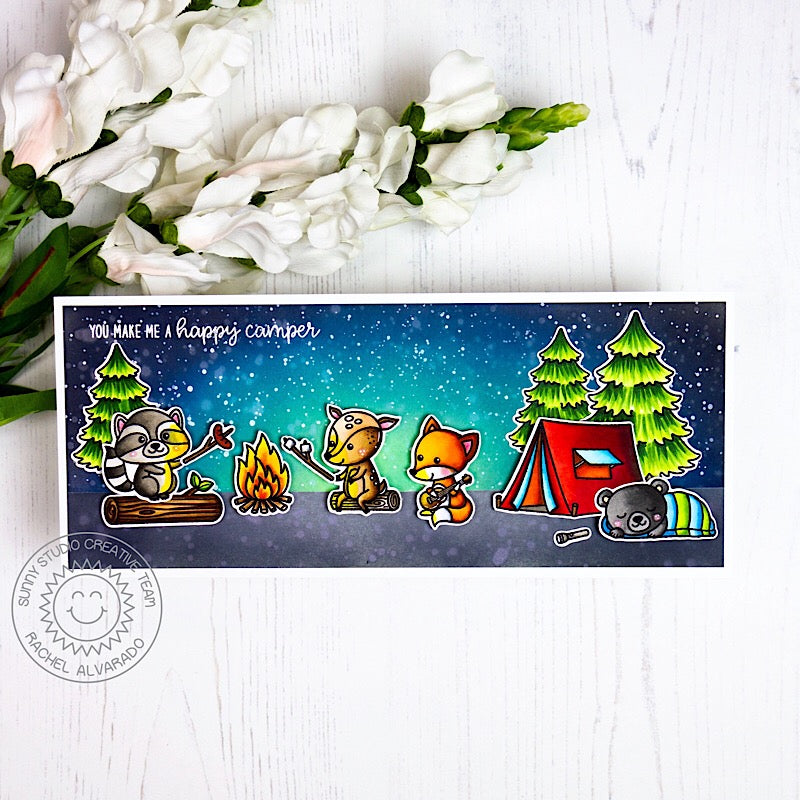 Sunny Studio Stamps Elongated Camping Themed Summer Card (using Critter Campout & Seasonal Trees Fir Tree Stamps)