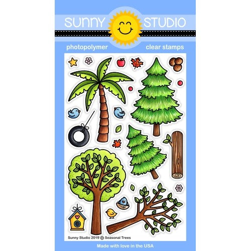Sunny Studio Stamps Seasonal Trees 4x6 Clear Photopolymer Stamp Set featuring Palm Tree, Fir Tree, Spring Tree & Log