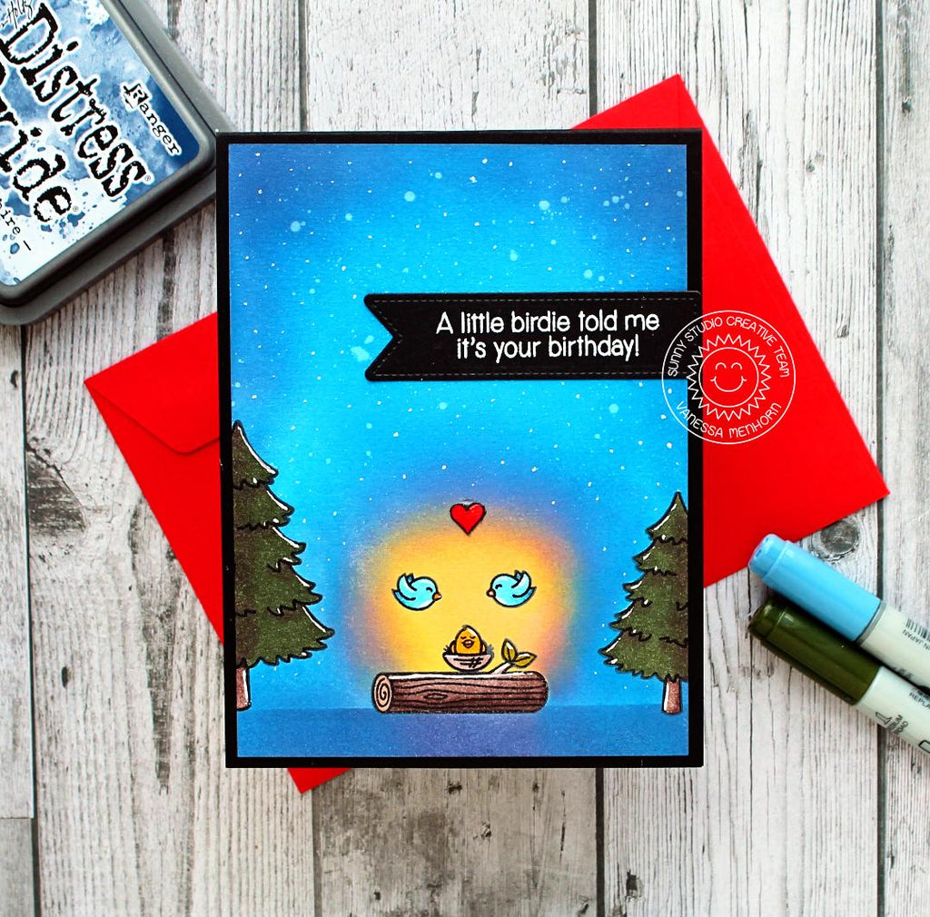 Sunny Studio Stamps A Little Birdie Told Me It's Your Birthday Glowing Night's Sky Card (using Fir Tree from Seasonal Trees set)