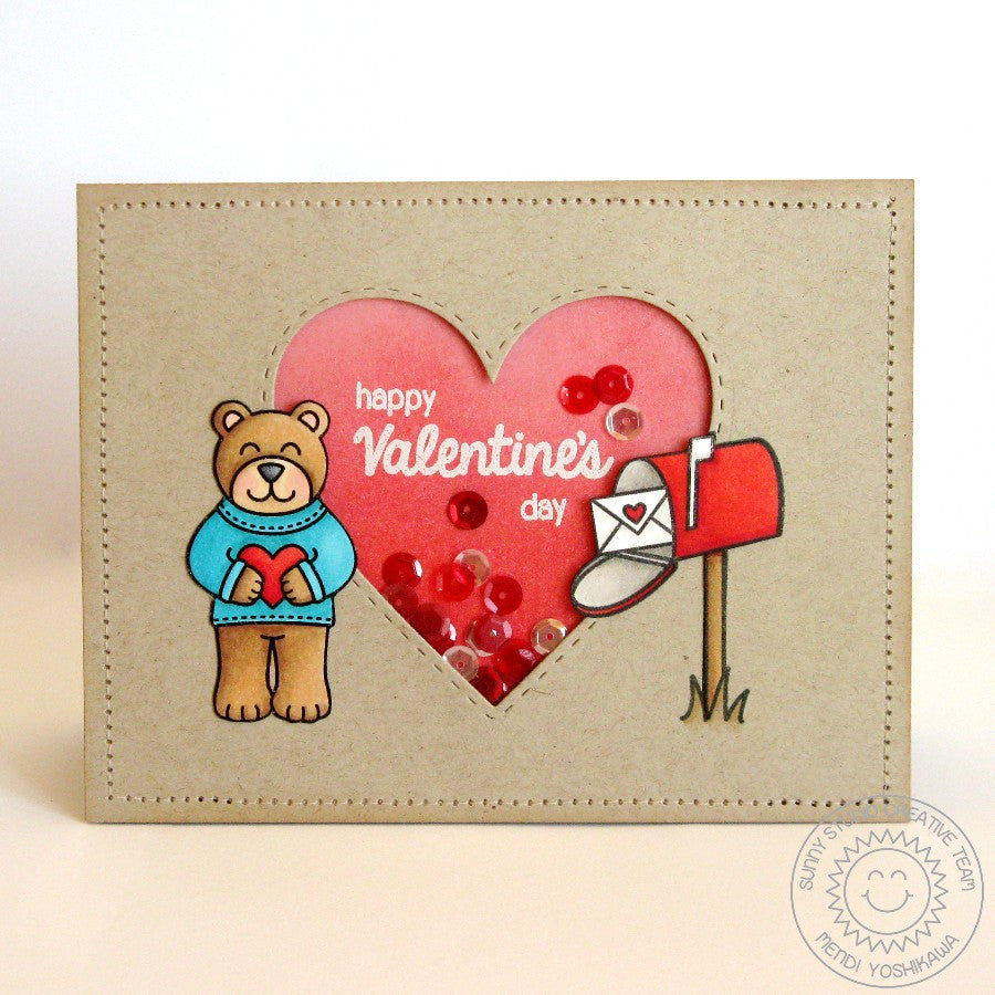 Sunny Studio Stamps Stitched Heart Valentine's Day Shaker Card