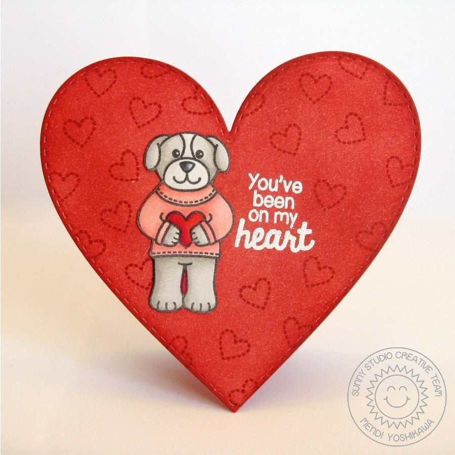 Sunny Studio Stamps Stitched Heart Shaped Valentine's Day Card