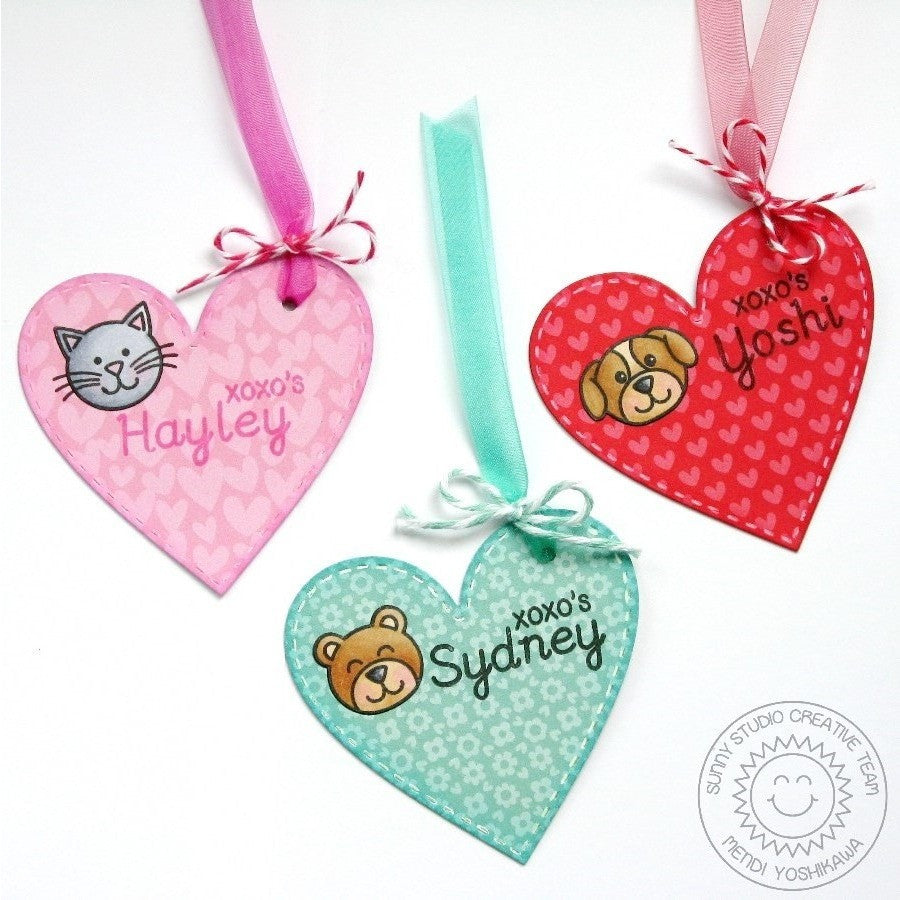 Sunny Studio Stamps Stitched Heart Shape Gift Tags for Valentine's Day