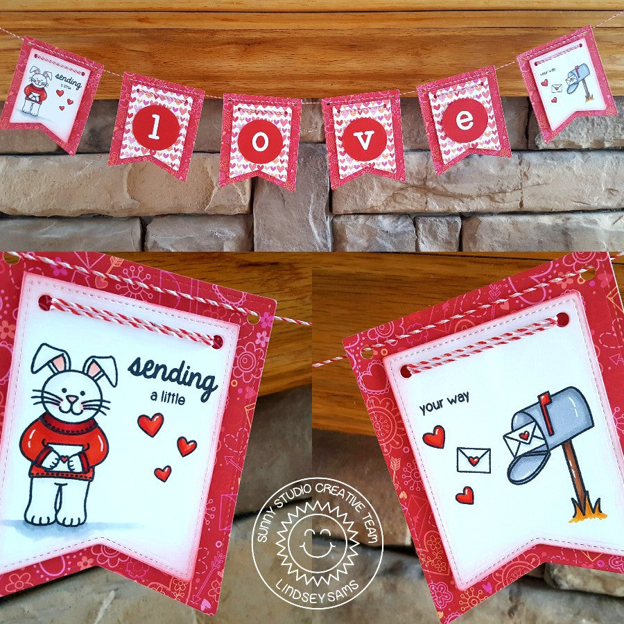 Sunny Studio Stamps Sending My Love Valentine's Day Banner